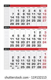 November 2013 Three-Month Calendar