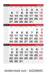 November 2014 Three-Month Calendar