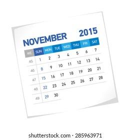 November 2015 American Calendar