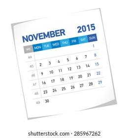 November 2015 European Calendar