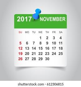 November 2017 calendar. Business vector illustration.