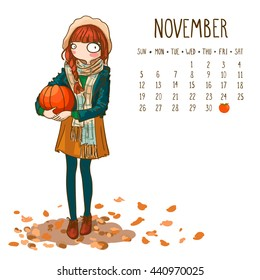 November. 2017 calendar with cute girl holding in hand big orange pumpkin. Can be used like greeting cards.