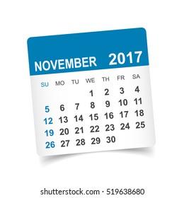 November 2017. Calendar vector illustration