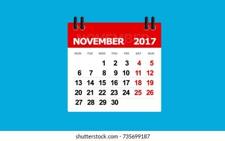 november 2017 calendar vector isolated blue background