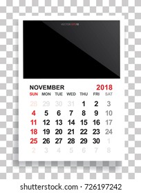 november 2018 calendar background with empty photo area white sheet of paper on a