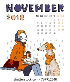 November. 2018 calendar. Cute girl with dog. Can be used like greeting cards.
