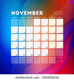 November 2018. Calendar planner design template with abstract background. Week starts on Monday