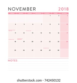 april 2018 monthly calendar notes vector stock vector royalty free