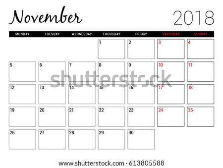November 2018 Printable Calendar Planner Design Stock Vector