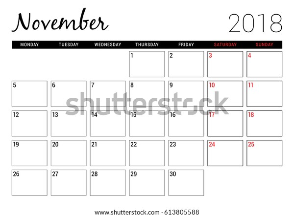 photograph regarding Printable Nov Calendar known as November 2018 Printable Calendar Planner Layout Inventory Vector