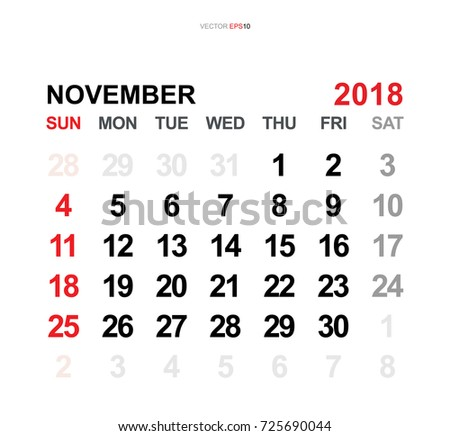 November 2018 Vector Monthly Calendar Template Stock Vector Royalty