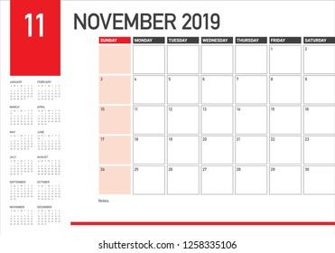 November 2019 desk calendar vector illustration, simple and clean design.