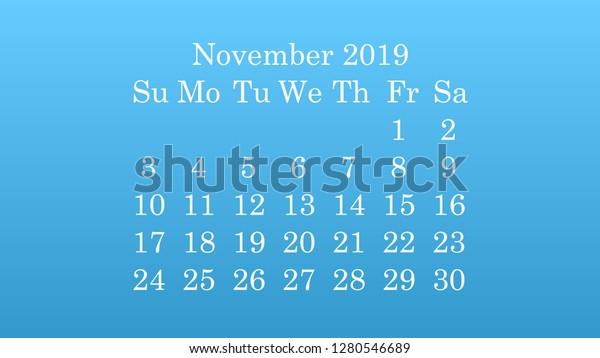 November 2019 Desktop Wallpaper Calendar 2019 Stock Vector