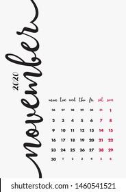 November 2020 Calendar. Desk Paper Calendar 2020 Design Concept. Vector Set 12 Months and Cover Page. Corporate Calendar Design Template A5.