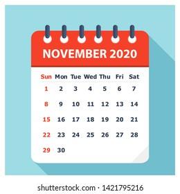 November 2020 - Calendar Icon - Calendar design template - Business vector illustration.