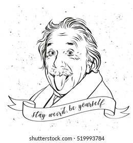 November 21, 2016:  Portrait of Albert Einstein in vector comic style. Scientist showing tongue. Crazy concept. Black and white vector illustration in retro style for poster, banner, T-shirt