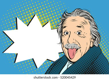 November 21, 2016:  Portrait of Albert Einstein with his tongue hanging out in vector pop art comic style. Crazy concept, Imitation of old illustrations