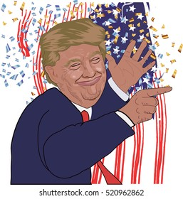 November 21, 2016: A vector illustration of a portrait of Republican  Presidential Candidate Donald Trump smile and raised his hands with a finger  pointing up on national flag background.