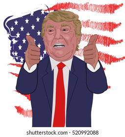 November 21, 2016: A vector illustration of a portrait of Republican  Presidential Candidate Donald Trump on national flag background.