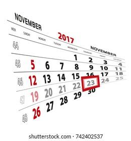 November 23, highlighted on 2017 calendar. Week starts from Sunday. Vector Illustration.