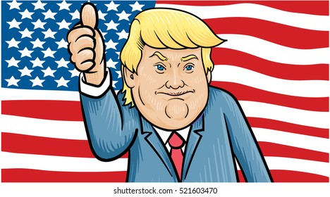 November 24, 2016: Caricature character illustration of Donald Trump