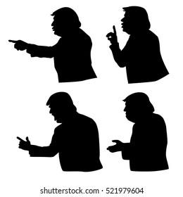 November 24, 2016: Vector illustrations of silhouette of Donald Trump.