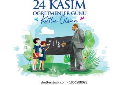 """""""24 de noviembre, feliz día del profesor"""". Ataturk enseñando alfabeto latino a los estudiantes."""
