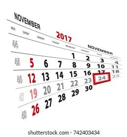 November 24, highlighted on 2017 calendar. Week starts from Sunday. Vector Illustration.