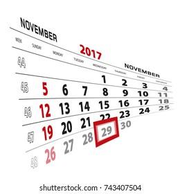 November 29, highlighted on 2017 calendar. Week starts from Sunday. Vector Illustration.