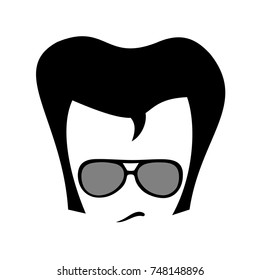 NOVEMBER 3, 2017: Elivs Presley, charming and cool man with retro fashionable sunglasses, haircut and hairstyle. Oldstyle fashion. Vector illustration