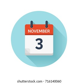 November 3. Vector flat daily calendar icon. Date and time, day, month 2018. Holiday. Season.