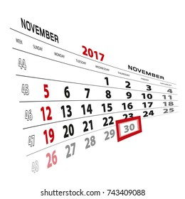 November 30, highlighted on 2017 calendar. Week starts from Sunday. Vector Illustration.