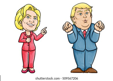 November 4, 2016: Caricature character illustration of Hillary Clinton and Donald Trump