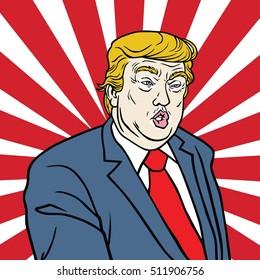 November 8, 2016. Donald Trump Poster Pop Art Vector Caricature