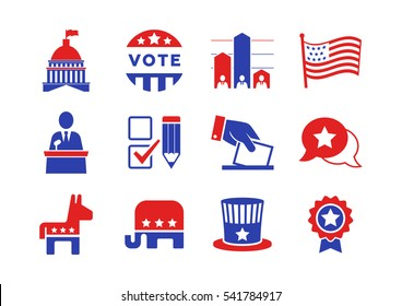 November 8, 2016: The United States presidential election of 2016. Political icons set for infographics