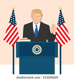 November 8, 2016: vector illustration of the President of the USA Donald Trump who is taking an Oath of Office.