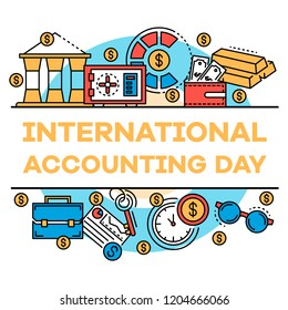 November accounting day banner. Outline illustration of november accounting day vector banner for web design