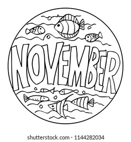 Color Example November Coloring Pages Kids Stock Vector (Royalty ...