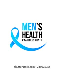 November men health awareness month poster or banner of blue ribbon. Vector no shave symbol for social solidarity event against man healthcare prostate cancer campaign