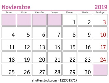 November month in a year 2019 wall calendar in spanish. Noviembre 2019. Calendario 2019