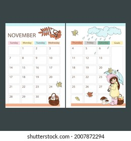 NOVEMBER PLANNER 2021 Monthly calendar Printable Page Template Schedule With Girl Under Umbrella And Basket Of Fruits And Mushrooms Cartoon Vector illustration