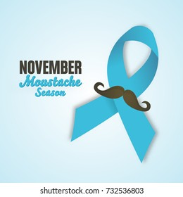 November Prostate Cancer Awareness Month Design with Blue Ribbon and Mustache. Men Healthcare Concept