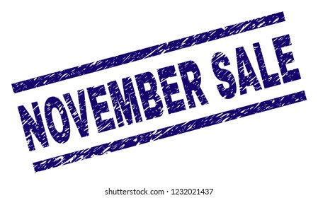 NOVEMBER SALE seal print with scratced style. Blue vector rubber print of NOVEMBER SALE caption with dirty texture. Text caption is placed between parallel lines.