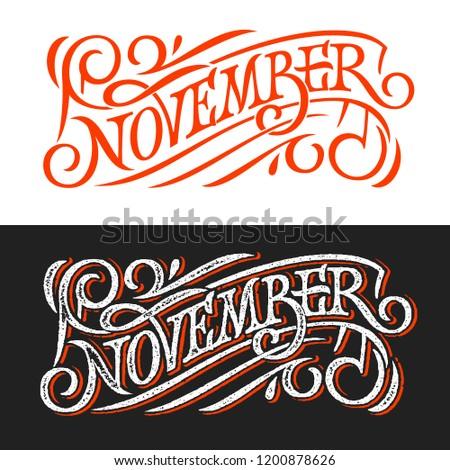 november vintage lettering on chalkboard lettering stock vector