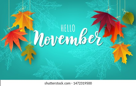November word. Hand lettering typography with autumn leaves. Vector illustration as poster, postcard, greeting card, invitation template. Concept November advertising