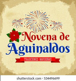 Novena de aguinaldos - Spanish translation: Ninth of Bonuses, It is a Christmas Catholic tradition in Colombia, latin american vector holiday with fireworks background