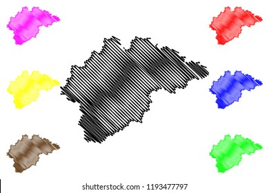 Novgorod Oblast (Russia, Subjects of the Russian Federation, Oblasts of Russia) map vector illustration, scribble sketch Novgorod Oblast map