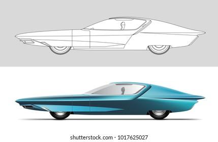 NOVI SAD, SERBIA - February 05, 2018: Vector illustration of Buick Century Cruiser concept car 1969 , eps10, vector, illustrative editorial - stock vector. Classic oldtimer car.