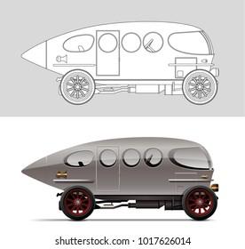 NOVI SAD, SERBIA - February 05, 2018: Vector illustration of Alfa Romeo Aerodinamica (Siluro Ricotti) 40-60 HP 1914 , eps10, vector, illustrative editorial - stock vector. Classic oldtimer car.