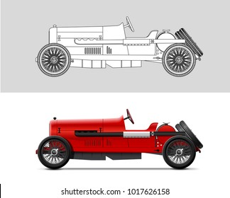 NOVI SAD, SERBIA - February 05, 2018: Vector illustration of Alfa Romeo 40-60 HP da corsa , eps10, vector, illustrative editorial - stock vector. Classic oldtimer car.